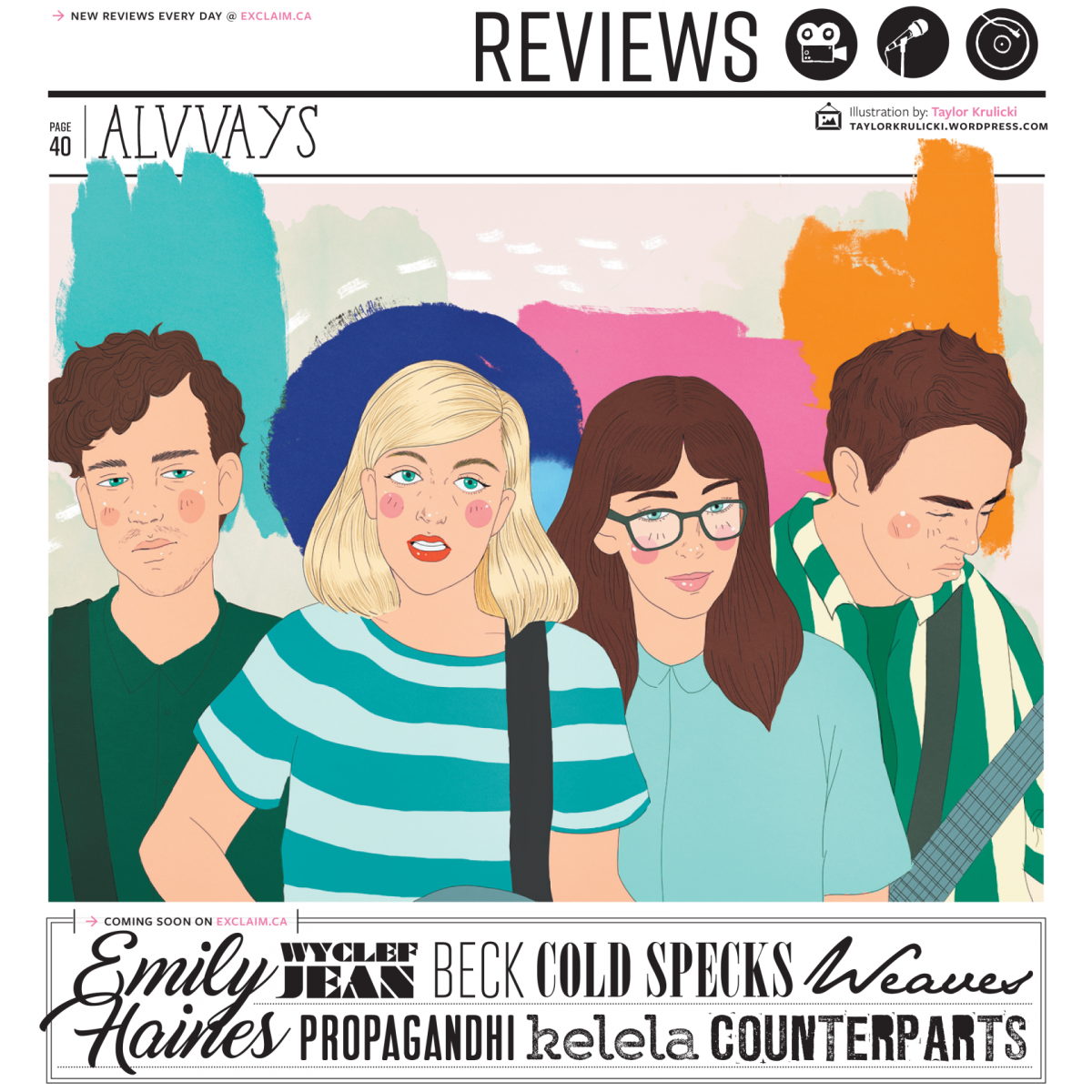 Editorial Illustration of Alvvays Band for Exclaim Magazine by Taylor Krulicki